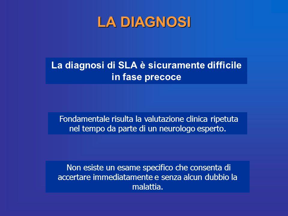 LA DIAGNOSI La diagnosi di SLA è sicuramente difficile in fase precoce Fondamentale risulta la valutazione clinica ripetuta nel tempo da parte di un n