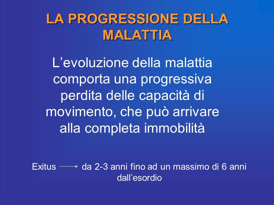 LA PROGRESSIONE DELLA MALATTIA Levoluzione della malattia comporta una progressiva perdita delle capacità di movimento, che può arrivare alla completa