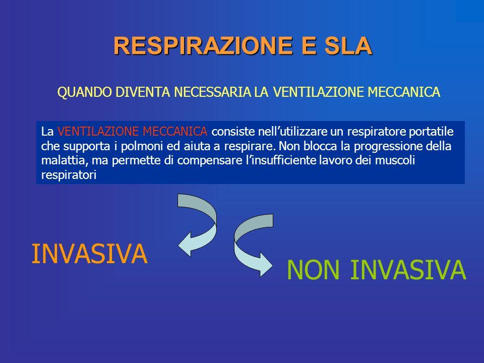 RESPIRAZIONE E SLA QUANDO DIVENTA NECESSARIA LA VENTILAZIONE MECCANICA La VENTILAZIONE MECCANICA consiste nellutilizzare un respiratore portatile che