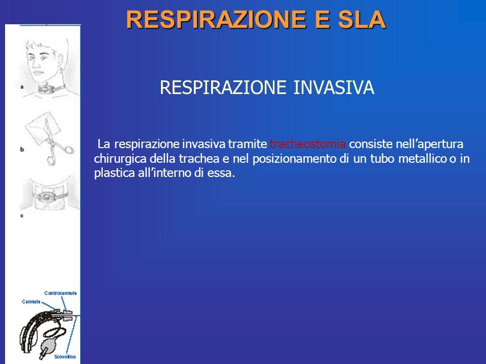 RESPIRAZIONE E SLA RESPIRAZIONE INVASIVA La respirazione invasiva tramite tracheostomia consiste nellapertura chirurgica della trachea e nel posiziona