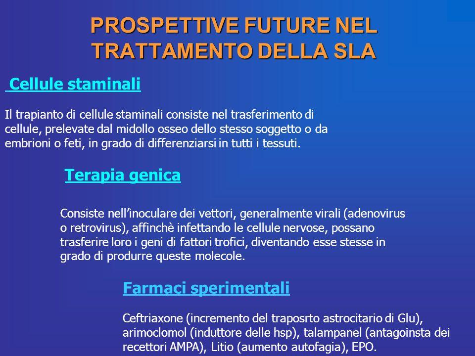PROSPETTIVE FUTURE NEL TRATTAMENTO DELLA SLA Cellule staminali Il trapianto di cellule staminali consiste nel trasferimento di cellule, prelevate dal