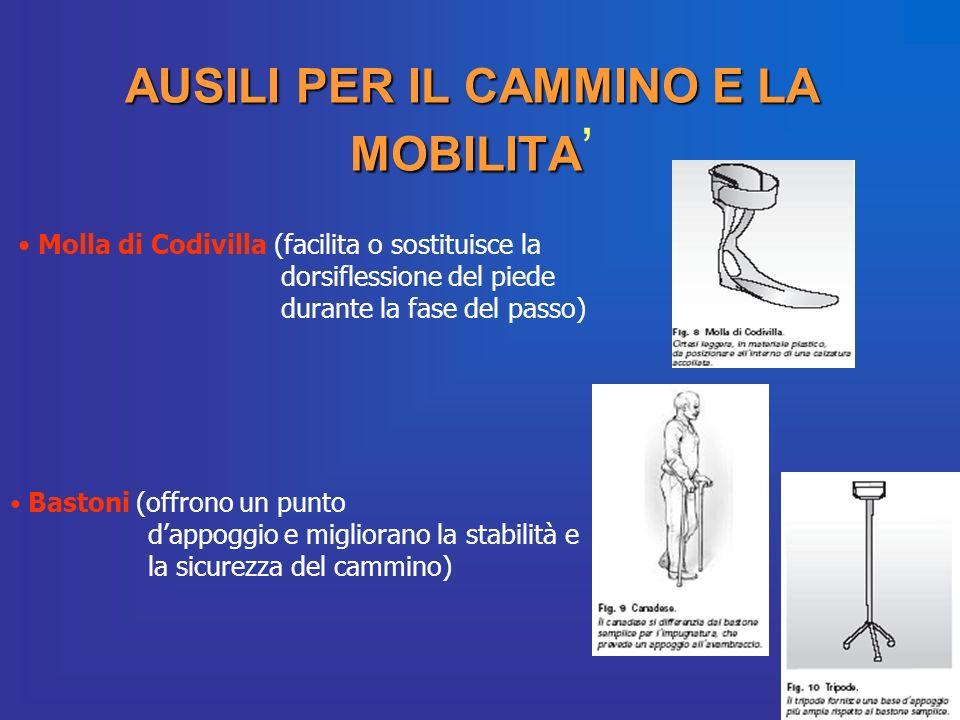 AUSILI PER IL CAMMINO E LA MOBILITA AUSILI PER IL CAMMINO E LA MOBILITA Molla di Codivilla (facilita o sostituisce la dorsiflessione del piede durante