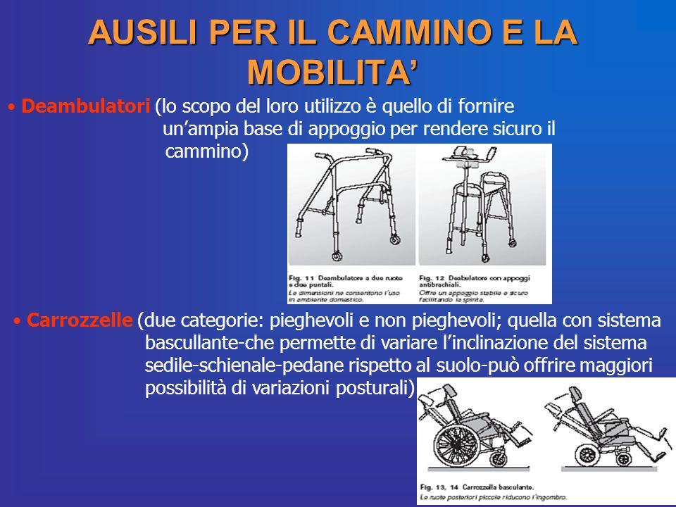 AUSILI PER IL CAMMINO E LA MOBILITA Deambulatori (lo scopo del loro utilizzo è quello di fornire unampia base di appoggio per rendere sicuro il cammin