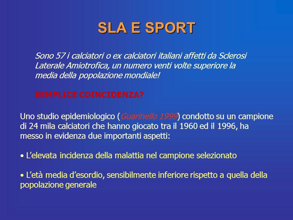 SLA E SPORT Sono 57 i calciatori o ex calciatori italiani affetti da Sclerosi Laterale Amiotrofica, un numero venti volte superiore la media della pop