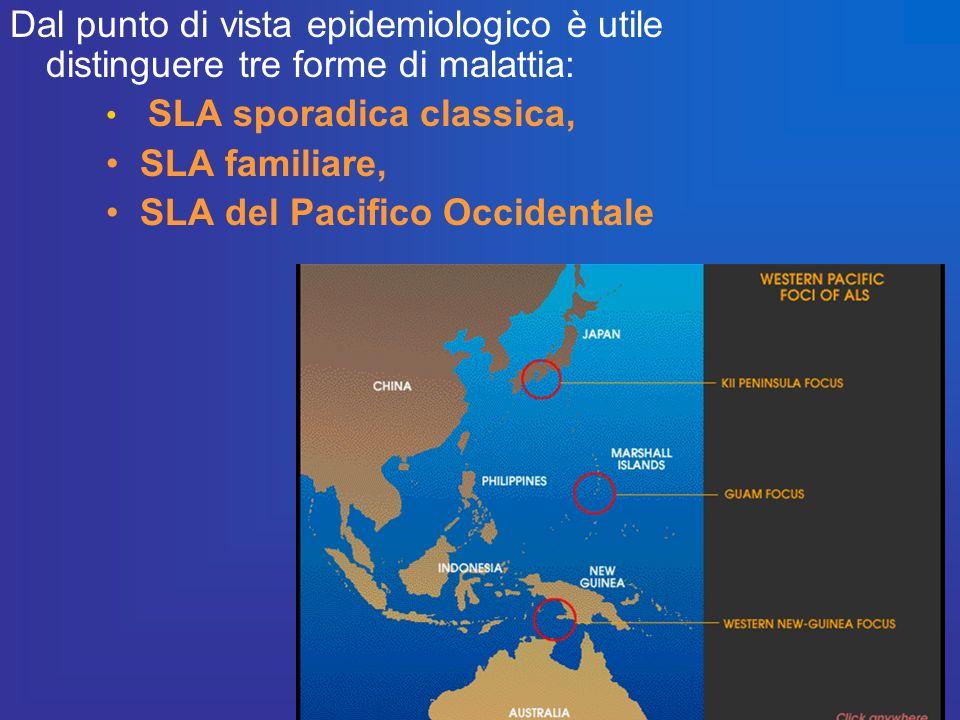 Dal punto di vista epidemiologico è utile distinguere tre forme di malattia: SLA sporadica classica, SLA familiare, SLA del Pacifico Occidentale