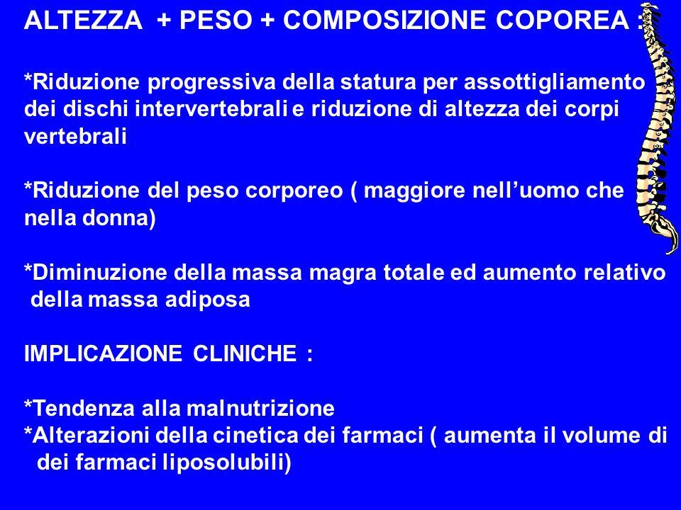 ALTEZZA + PESO + COMPOSIZIONE COPOREA : *Riduzione progressiva della statura per assottigliamento dei dischi intervertebrali e riduzione di altezza de