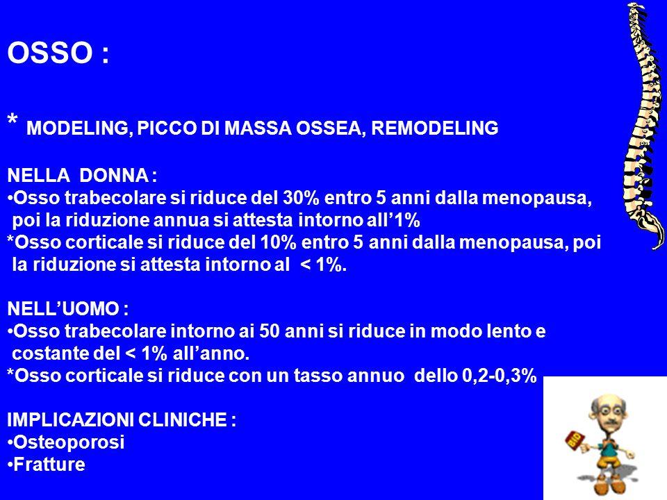 OSSO : * MODELING, PICCO DI MASSA OSSEA, REMODELING NELLA DONNA : Osso trabecolare si riduce del 30% entro 5 anni dalla menopausa, poi la riduzione an