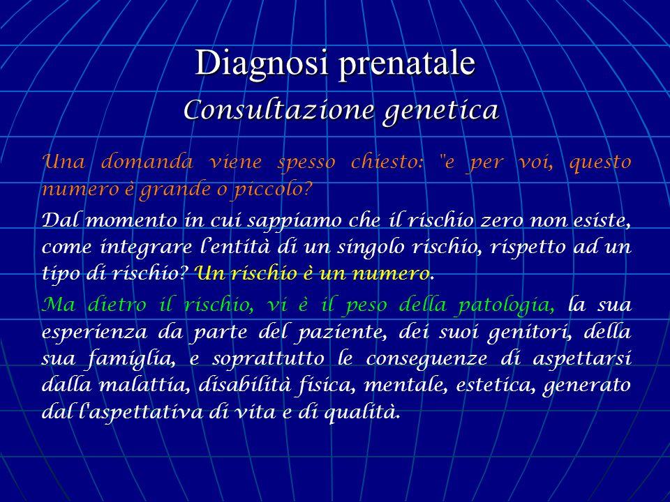 Diagnosi prenatale Consultazione genetica Una domanda viene spesso chiesto:
