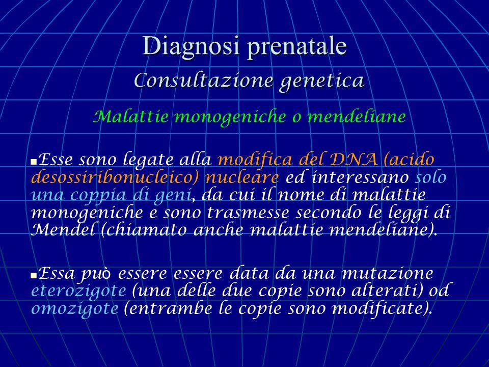 Diagnosi prenatale Consultazione genetica Malattie monogeniche o mendeliane Esse sono legate alla modifica del DNA (acido desossiribonucleico) nuclear
