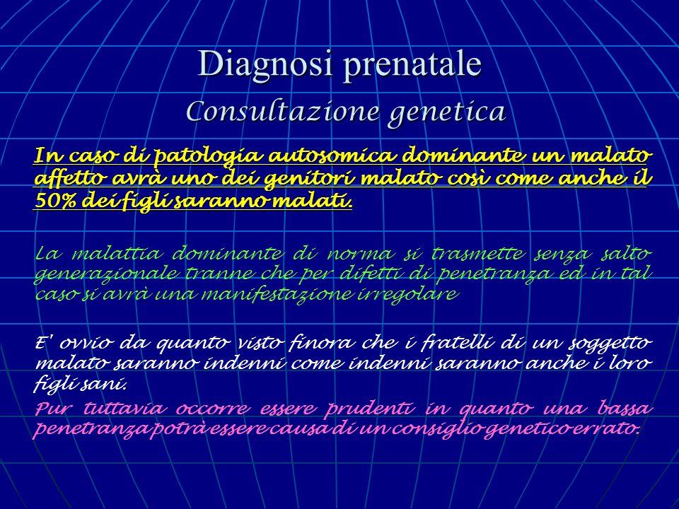 Diagnosi prenatale Consultazione genetica In caso di patologia autosomica dominante un malato affetto avrà uno dei genitori malato così come anche il