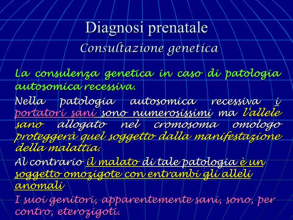 Diagnosi prenatale Consultazione genetica La consulenza genetica in caso di patologia autosomica recessiva. Nella patologia autosomica recessiva i por