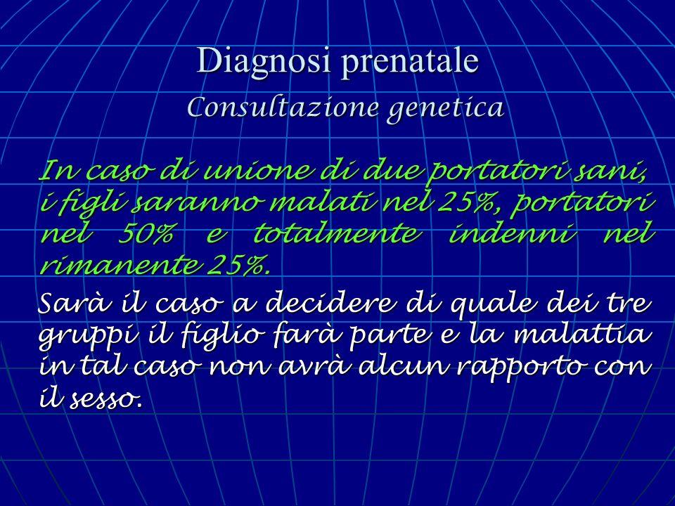 Diagnosi prenatale Consultazione genetica In caso di unione di due portatori sani, i figli saranno malati nel 25%, portatori nel 50% e totalmente inde