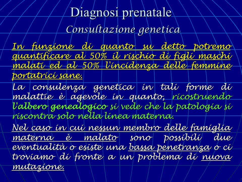 Diagnosi prenatale Consultazione genetica In funzione di quanto su detto potremo quantificare al 50% il rischio di figli maschi malati ed al 50% l'inc
