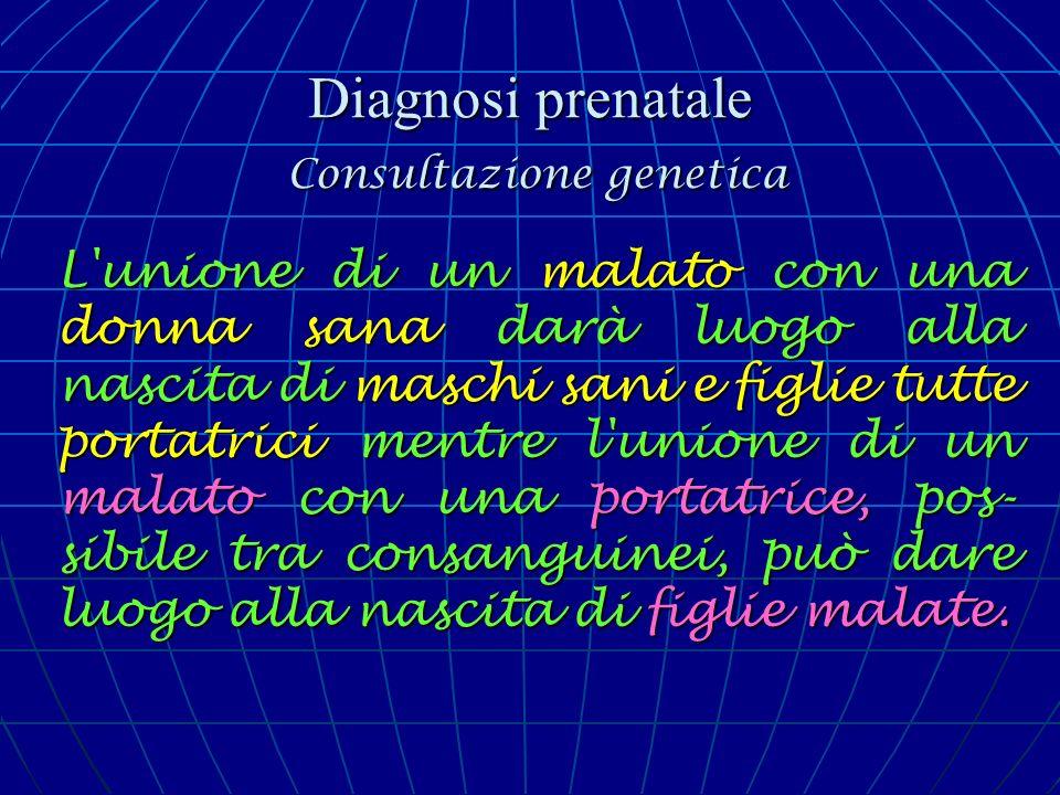 Diagnosi prenatale Consultazione genetica L'unione di un malato con una donna sana darà luogo alla nascita di maschi sani e figlie tutte portatrici me