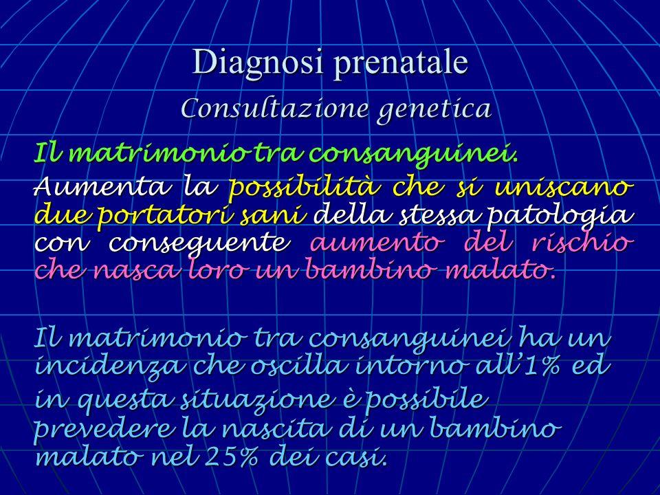 Diagnosi prenatale Consultazione genetica Il matrimonio tra consanguinei. Aumenta la possibilità che si uniscano due portatori sani della stessa patol