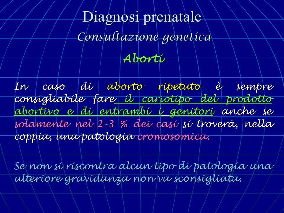 Diagnosi prenatale Consultazione genetica Aborti In caso di aborto ripetuto è sempre consigliabile fare il cariotipo del prodotto abortivo e di entram