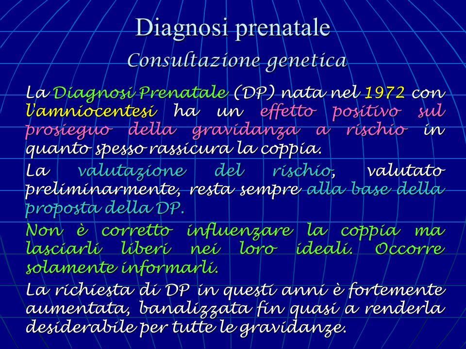 Diagnosi prenatale Consultazione genetica La Diagnosi Prenatale (DP) nata nel 1972 con l'amniocentesi ha un effetto positivo sul prosieguo della gravi