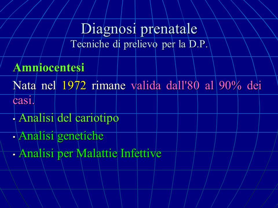 Diagnosi prenatale Tecniche di prelievo per la D.P. Amniocentesi Nata nel 1972 rimane valida dall'80 al 90% dei casi. Analisi del cariotipo Analisi de
