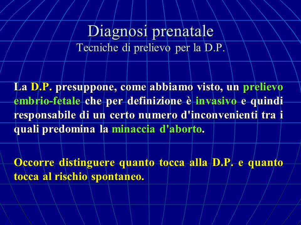 Diagnosi prenatale Tecniche di prelievo per la D.P. La D.P. presuppone, come abbiamo visto, un prelievo embrio-fetale che per definizione è invasivo e