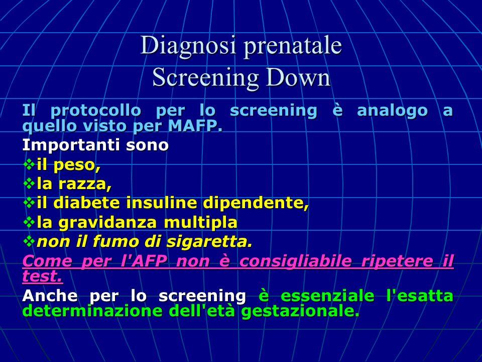 Il protocollo per lo screening è analogo a quello visto per MAFP. Importanti sono il peso, il peso, la razza, la razza, il diabete insuline dipendente