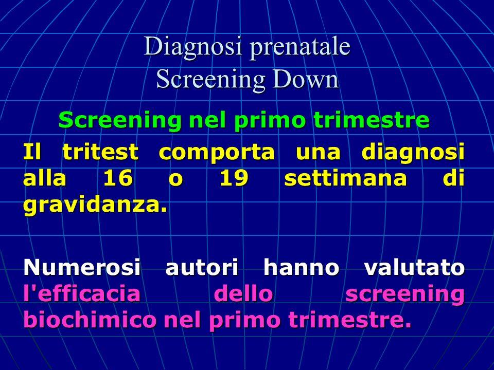 Screening nel primo trimestre Il tritest comporta una diagnosi alla 16 o 19 settimana di gravidanza. Numerosi autori hanno valutato l'efficacia dello