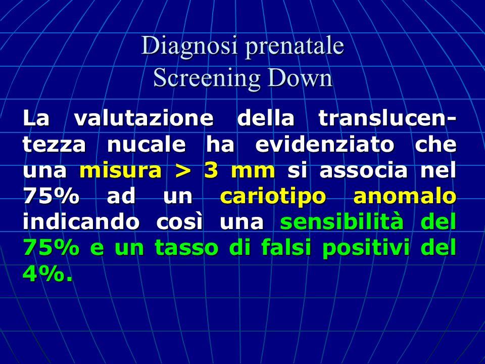 La valutazione della translucen- tezza nucale ha evidenziato che una misura > 3 mm si associa nel 75% ad un cariotipo anomalo indicando così una sensi