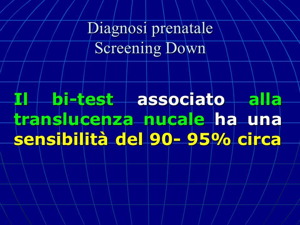 Il bi-test associato alla translucenza nucale ha una sensibilità del 90- 95% circa Diagnosi prenatale Screening Down