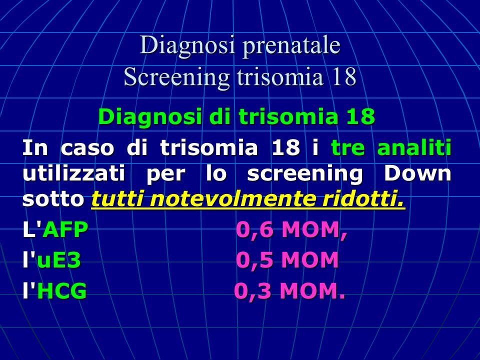 Diagnosi di trisomia 18 In caso di trisomia 18 i tre analiti utilizzati per lo screening Down sotto tutti notevolmente ridotti. L'AFP 0,6 MOM, l'uE3 0