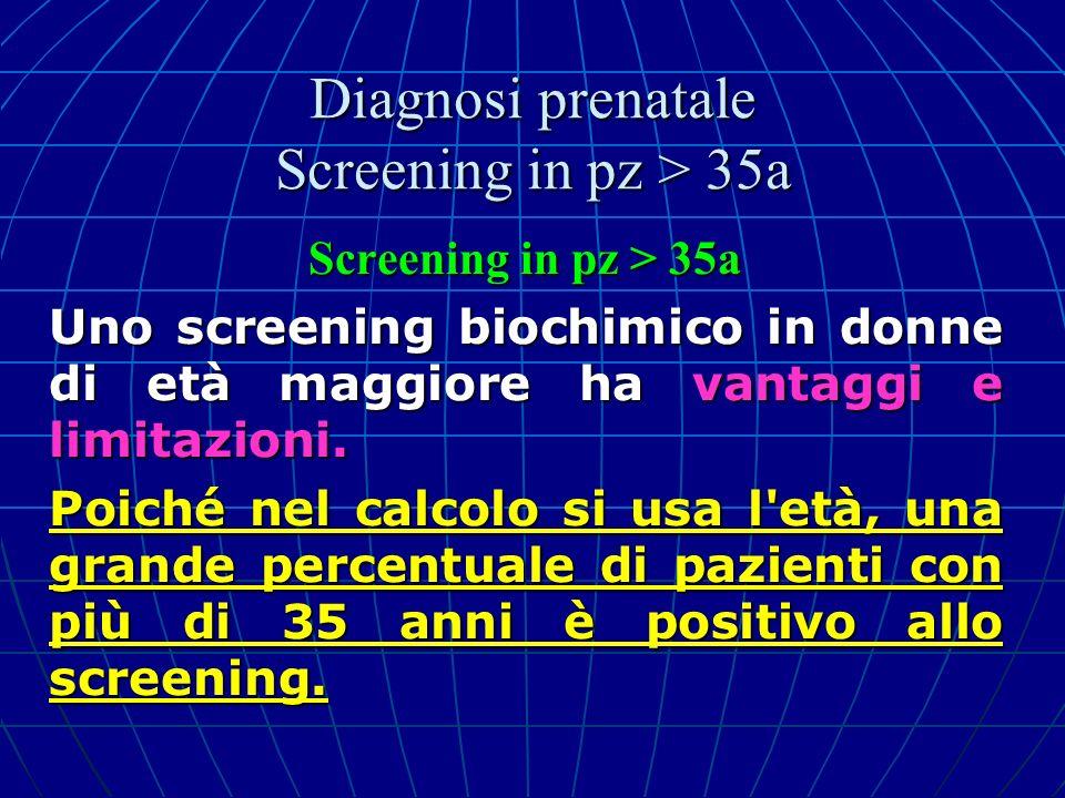 Screening in pz > 35a Uno screening biochimico in donne di età maggiore ha vantaggi e limitazioni. Poiché nel calcolo si usa l'età, una grande percent
