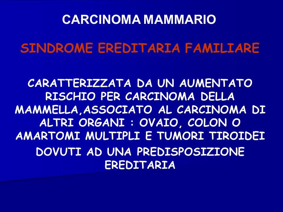 CARCINOMA MAMMARIO SINDROME EREDITARIA FAMILIARE CARATTERIZZATA DA UN AUMENTATO RISCHIO PER CARCINOMA DELLA MAMMELLA,ASSOCIATO AL CARCINOMA DI ALTRI O