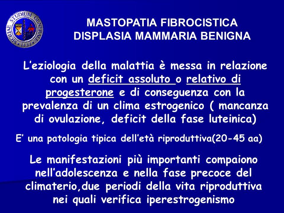 MASTOPATIA FIBROCISTICA DISPLASIA MAMMARIA BENIGNA Leziologia della malattia è messa in relazione con un deficit assoluto o relativo di progesterone e