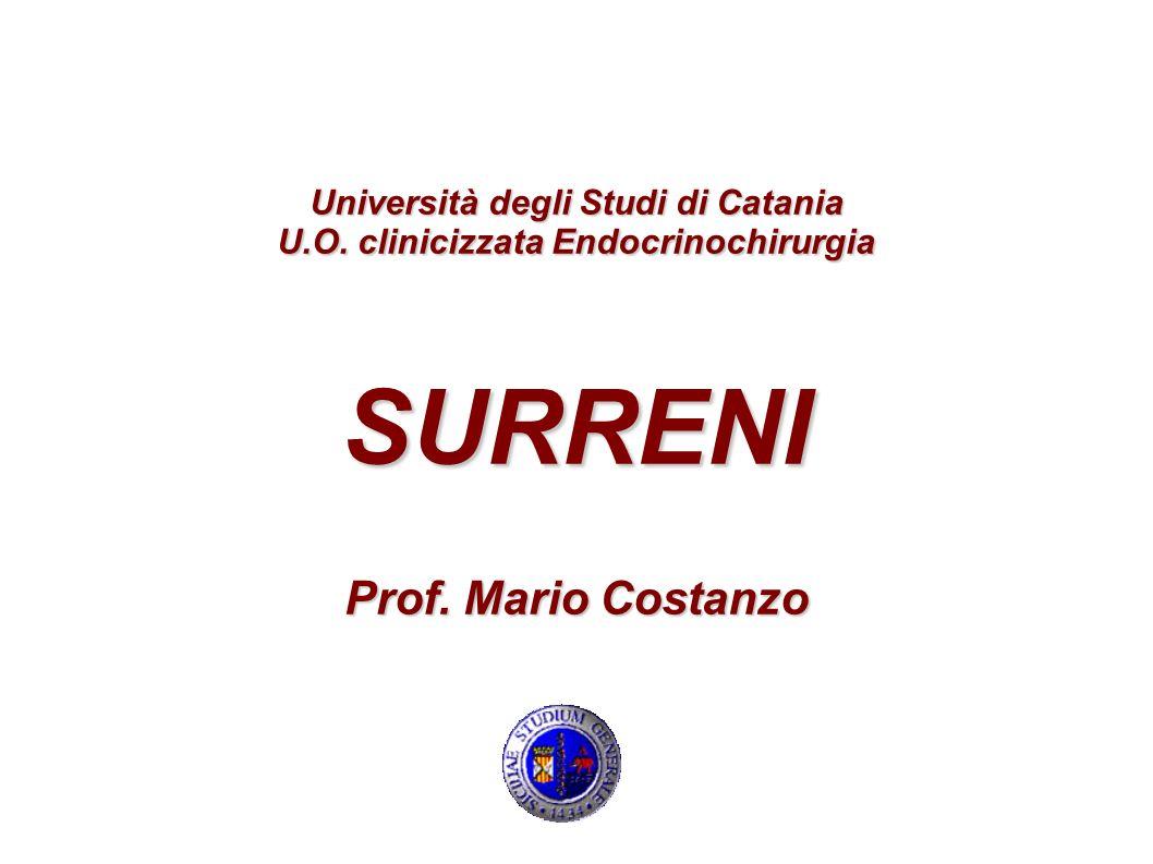 Università degli Studi di Catania U.O. clinicizzata Endocrinochirurgia SURRENI Prof. Mario Costanzo