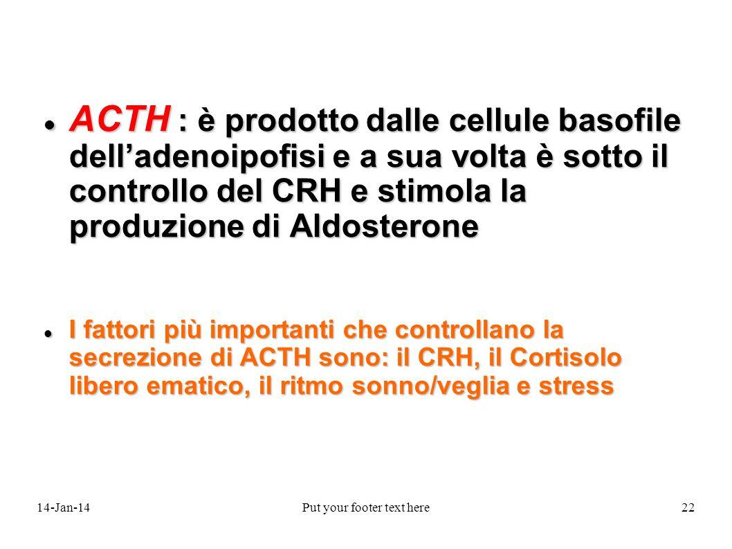 14-Jan-14Put your footer text here22 ACTH : è prodotto dalle cellule basofile delladenoipofisi e a sua volta è sotto il controllo del CRH e stimola la produzione di Aldosterone ACTH : è prodotto dalle cellule basofile delladenoipofisi e a sua volta è sotto il controllo del CRH e stimola la produzione di Aldosterone I fattori più importanti che controllano la secrezione di ACTH sono: il CRH, il Cortisolo libero ematico, il ritmo sonno/veglia e stress I fattori più importanti che controllano la secrezione di ACTH sono: il CRH, il Cortisolo libero ematico, il ritmo sonno/veglia e stress