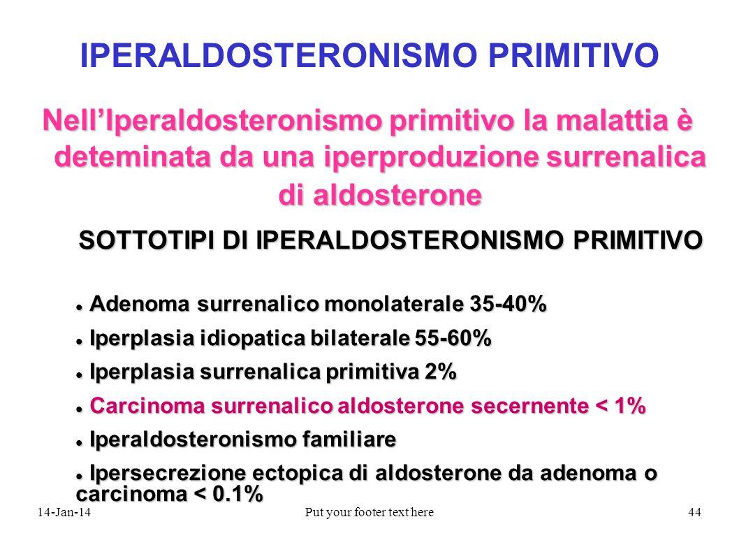14-Jan-14Put your footer text here44 IPERALDOSTERONISMO PRIMITIVO NellIperaldosteronismo primitivo la malattia è deteminata da una iperproduzione surr