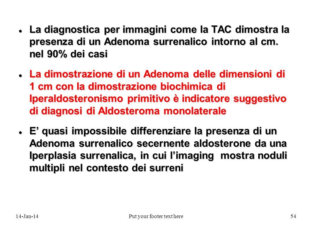 14-Jan-14Put your footer text here54 La diagnostica per immagini come la TAC dimostra la presenza di un Adenoma surrenalico intorno al cm. nel 90% dei
