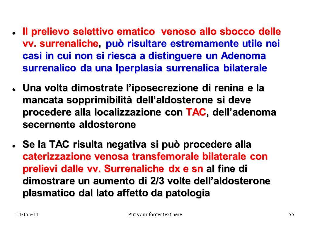14-Jan-14Put your footer text here55 Il prelievo selettivo ematico venoso allo sbocco delle vv.
