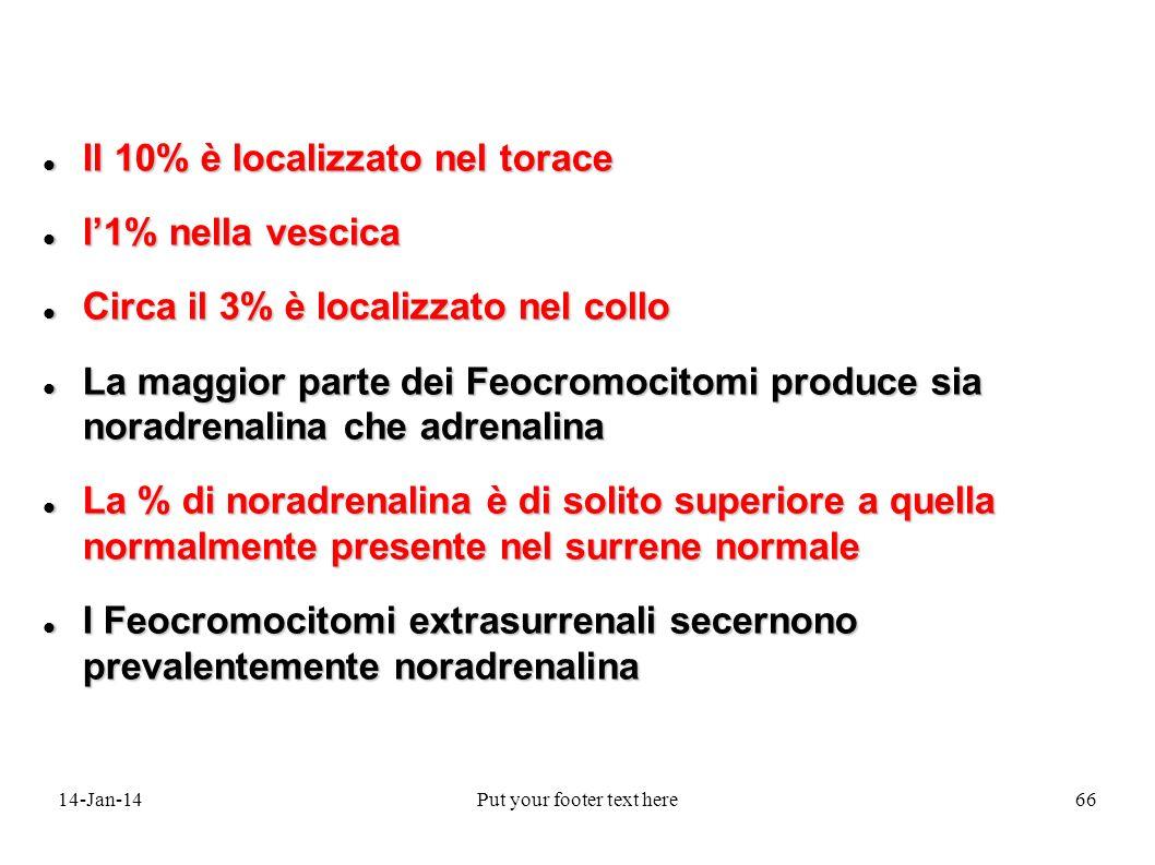 14-Jan-14Put your footer text here66 Il 10% è localizzato nel torace Il 10% è localizzato nel torace l1% nella vescica l1% nella vescica Circa il 3% è
