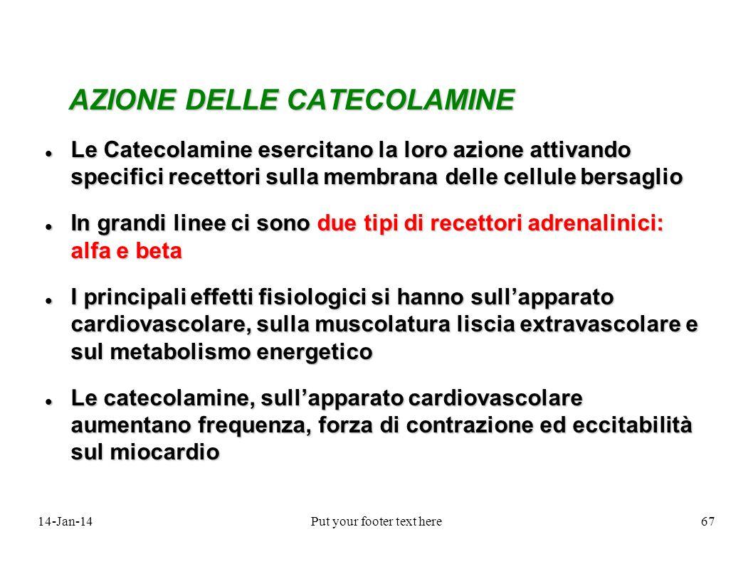 14-Jan-14Put your footer text here67 AZIONE DELLE CATECOLAMINE AZIONE DELLE CATECOLAMINE Le Catecolamine esercitano la loro azione attivando specifici