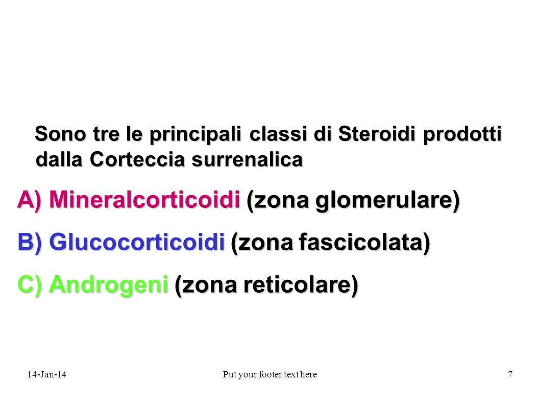 14-Jan-14Put your footer text here7 Sono tre le principali classi di Steroidi prodotti dalla Corteccia surrenalica Sono tre le principali classi di Steroidi prodotti dalla Corteccia surrenalica A) Mineralcorticoidi (zona glomerulare) B) Glucocorticoidi (zona fascicolata) C) Androgeni (zona reticolare)