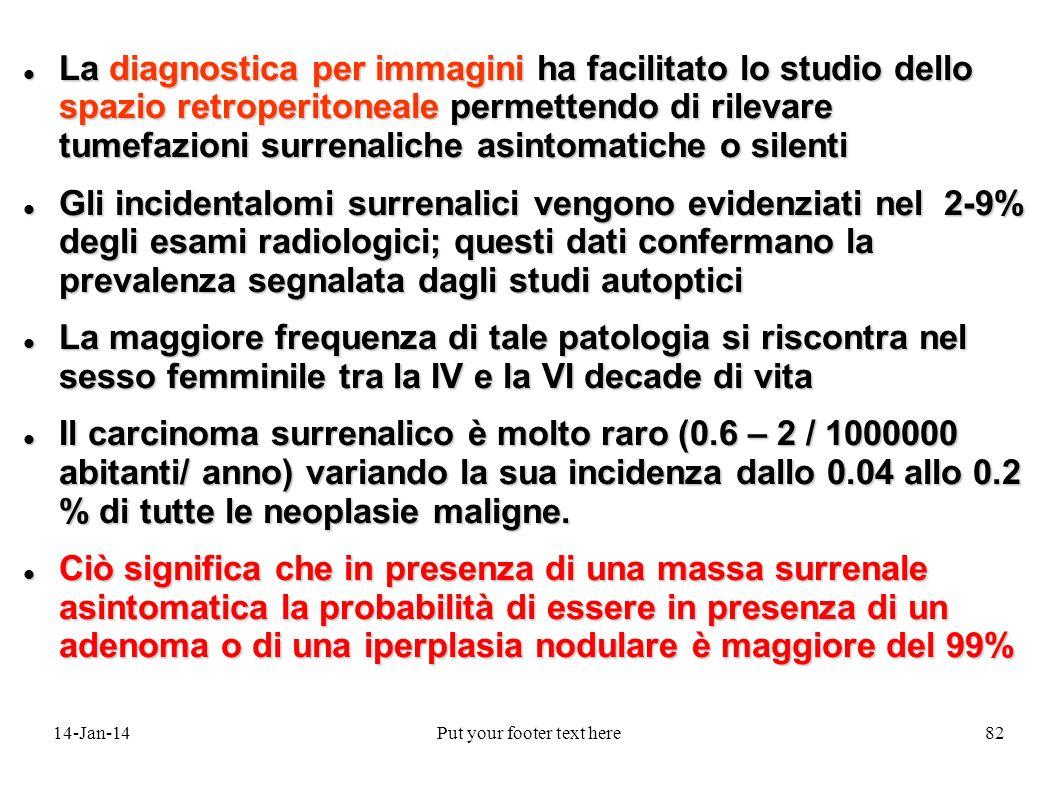 14-Jan-14Put your footer text here82 La diagnostica per immagini ha facilitato lo studio dello spazio retroperitoneale permettendo di rilevare tumefaz