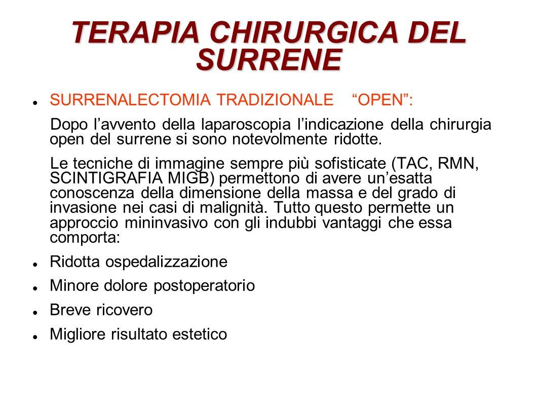 TERAPIA CHIRURGICA DEL SURRENE SURRENALECTOMIA TRADIZIONALE OPEN: Dopo lavvento della laparoscopia lindicazione della chirurgia open del surrene si sono notevolmente ridotte.