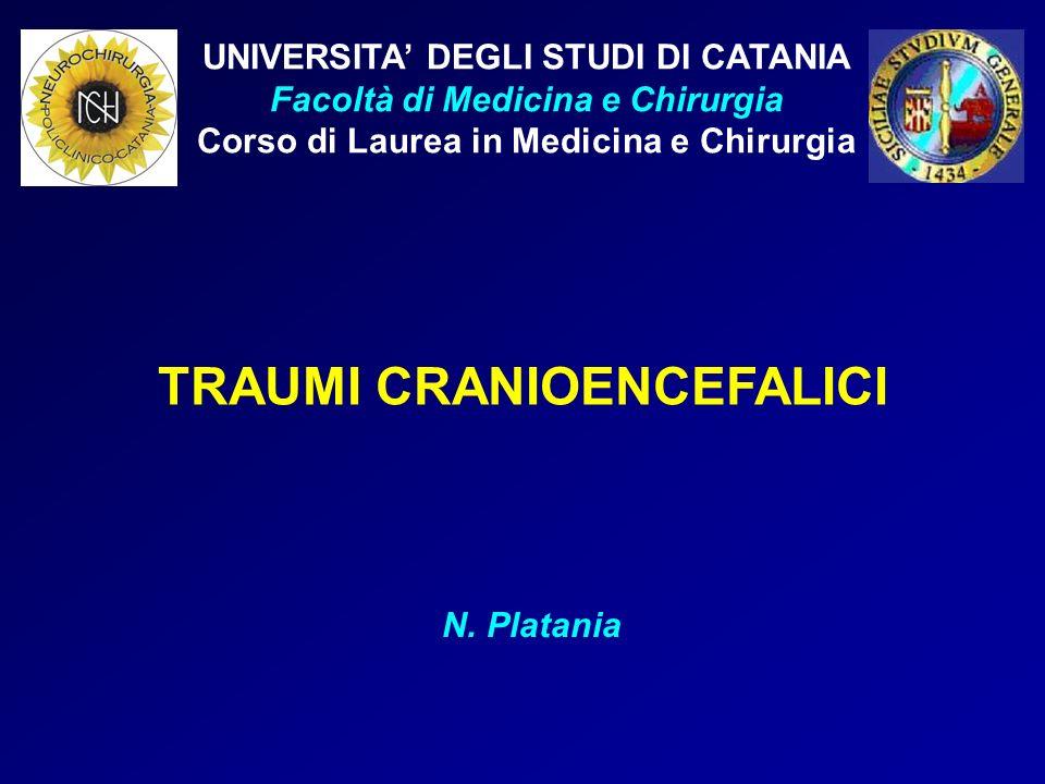 UNIVERSITA DEGLI STUDI DI CATANIA Facoltà di Medicina e Chirurgia Corso di Laurea in Medicina e Chirurgia TRAUMI CRANIOENCEFALICI N. Platania