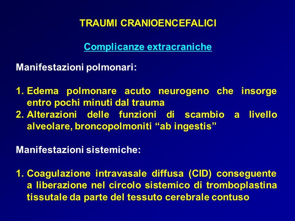 TRAUMI CRANIOENCEFALICI Complicanze extracraniche Manifestazioni polmonari: 1.Edema polmonare acuto neurogeno che insorge entro pochi minuti dal traum