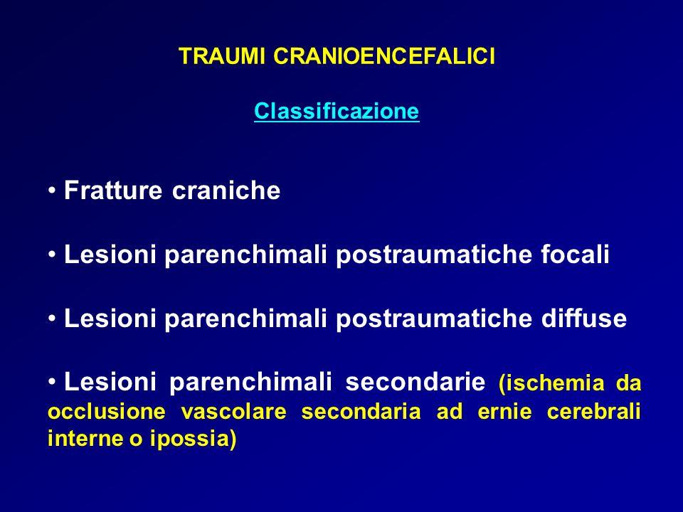 TRAUMI CRANIOENCEFALICI Classificazione Fratture craniche Lesioni parenchimali postraumatiche focali Lesioni parenchimali postraumatiche diffuse Lesio