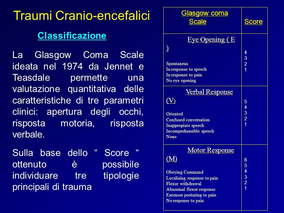 Traumi Cranio-encefalici Classificazione La Glasgow Coma Scale ideata nel 1974 da Jennet e Teasdale permette una valutazione quantitativa delle caratt
