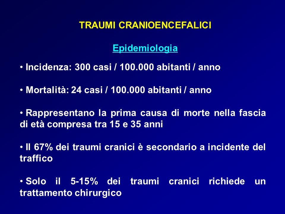 TRAUMI CRANIOENCEFALICI Epidemiologia Incidenza: 300 casi / 100.000 abitanti / anno Mortalità: 24 casi / 100.000 abitanti / anno Rappresentano la prim