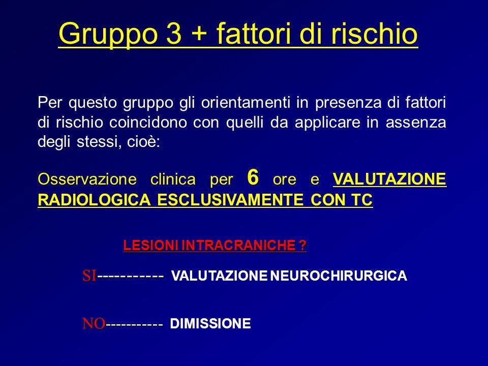 Gruppo 3 + fattori di rischio Per questo gruppo gli orientamenti in presenza di fattori di rischio coincidono con quelli da applicare in assenza degli