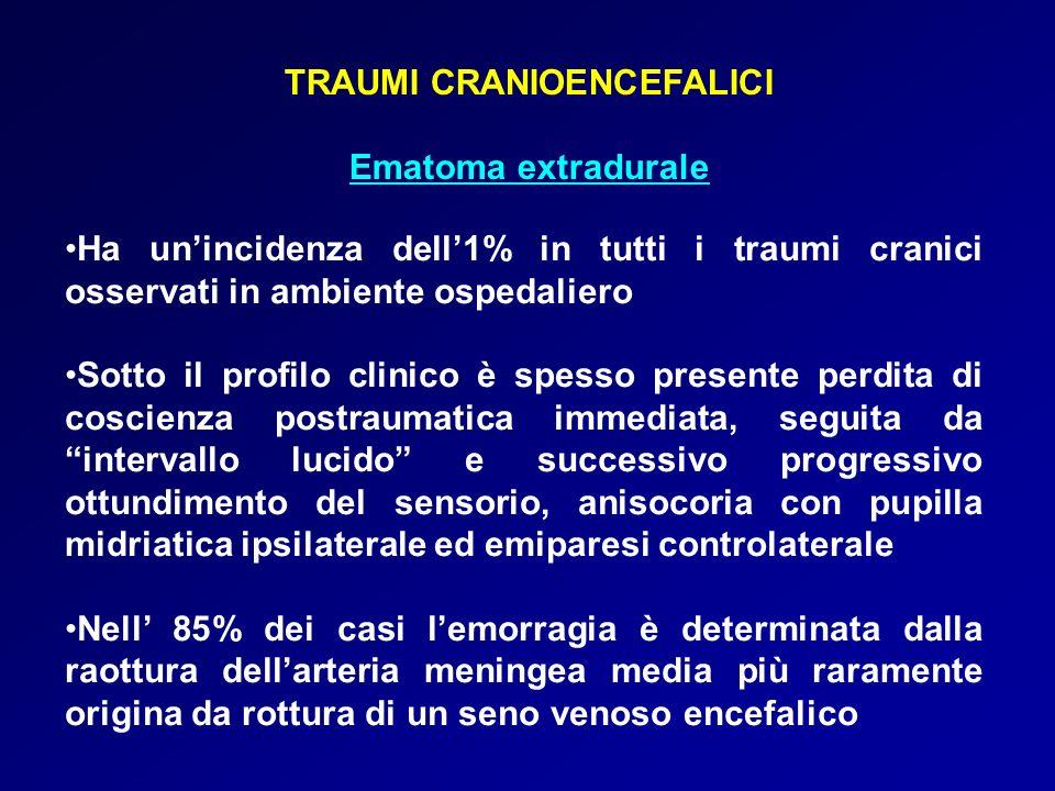 TRAUMI CRANIOENCEFALICI Ematoma extradurale Ha unincidenza dell1% in tutti i traumi cranici osservati in ambiente ospedaliero Sotto il profilo clinico