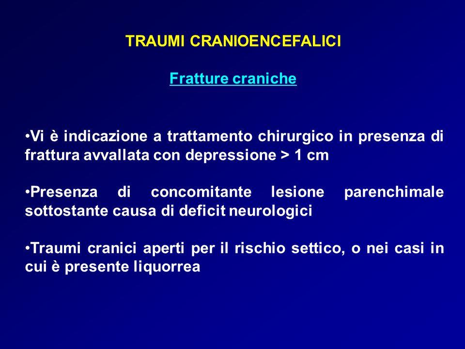 TRAUMI CRANIOENCEFALICI Fratture craniche Vi è indicazione a trattamento chirurgico in presenza di frattura avvallata con depressione > 1 cm Presenza