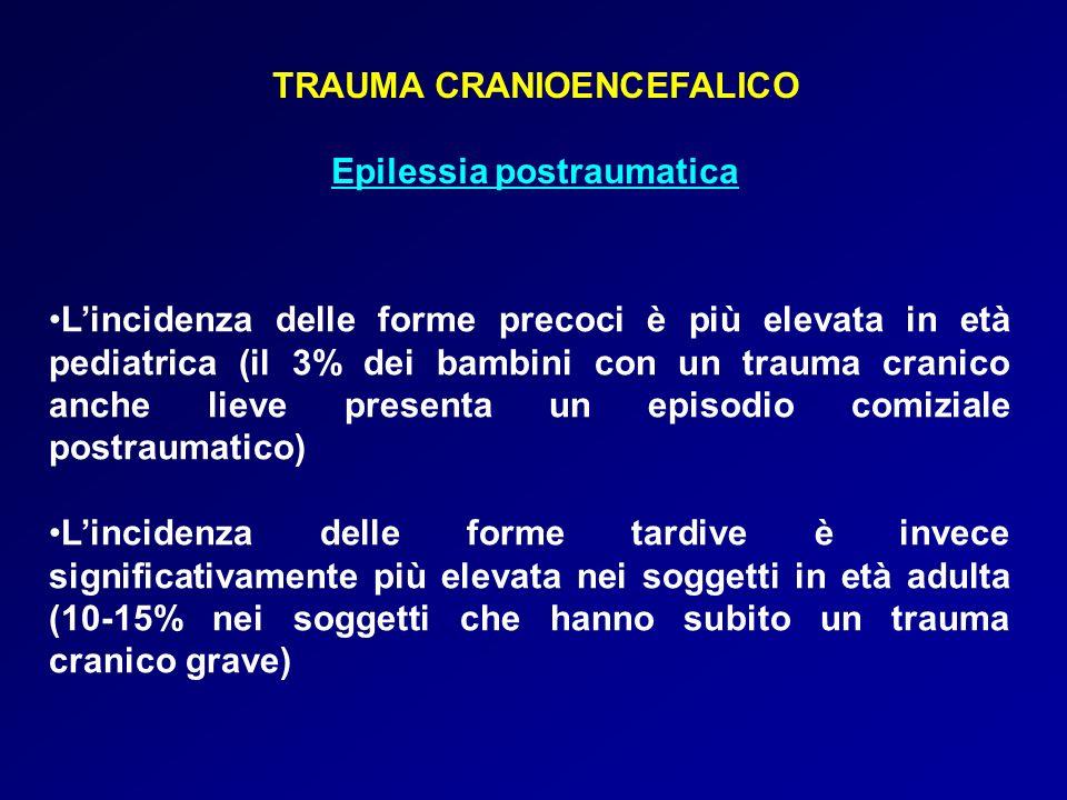 TRAUMA CRANIOENCEFALICO Epilessia postraumatica Lincidenza delle forme precoci è più elevata in età pediatrica (il 3% dei bambini con un trauma cranic